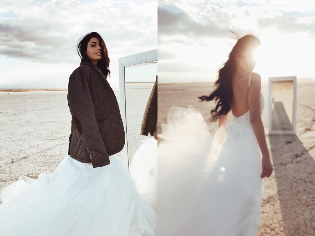 "On location shooting the ""Elysian"" gown by Lauren Elaine Bridal at El Mirage dry lake bed with model Sabyr Omens."