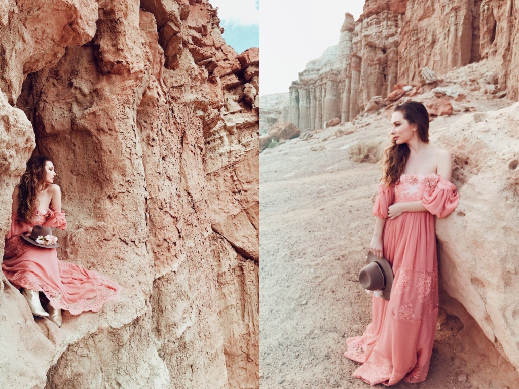 Red Rock Canyon fashion editorial with Los Angeles Fashion designer Lauren Elaine