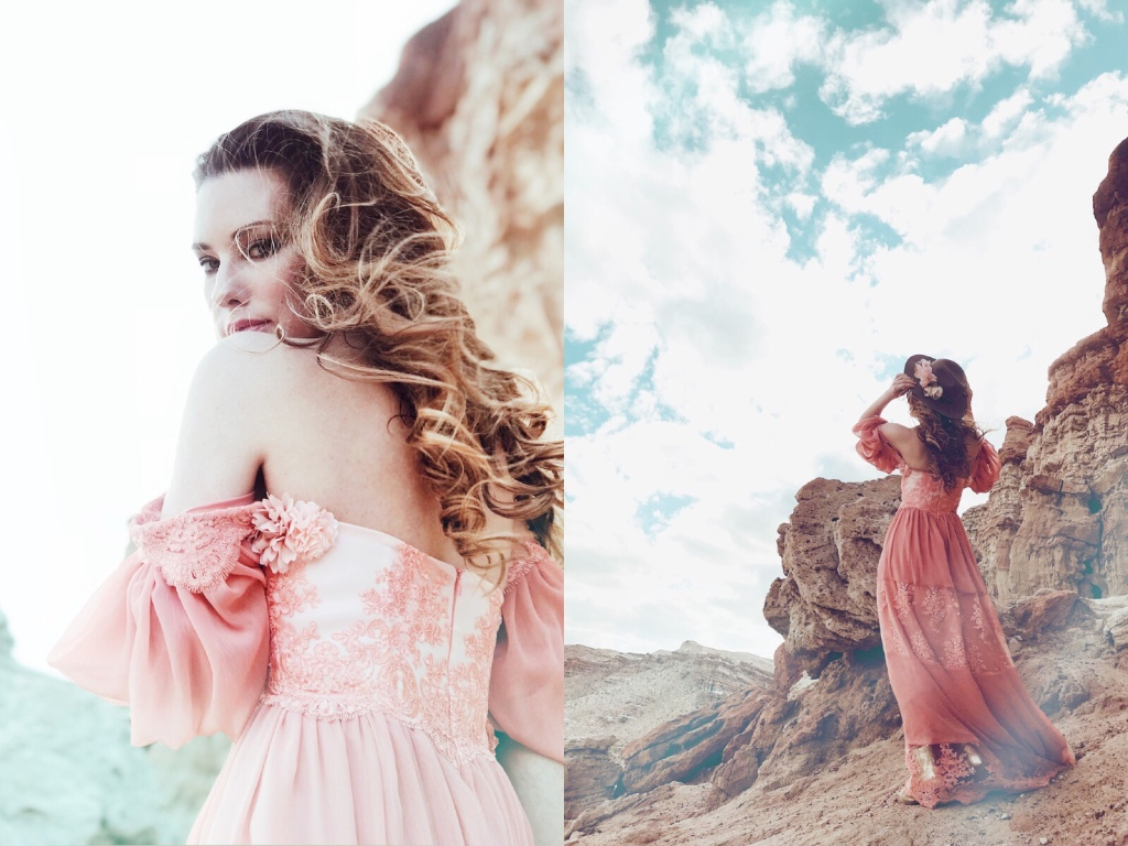 Western fashion editorial at Red Rock Canyon with Bridal Designer Lauren Elaine