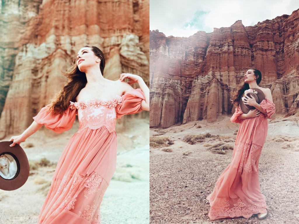 Western bridal fashion editorial with Designer Lauren Elaine at Red Rock Canyon State Park in California