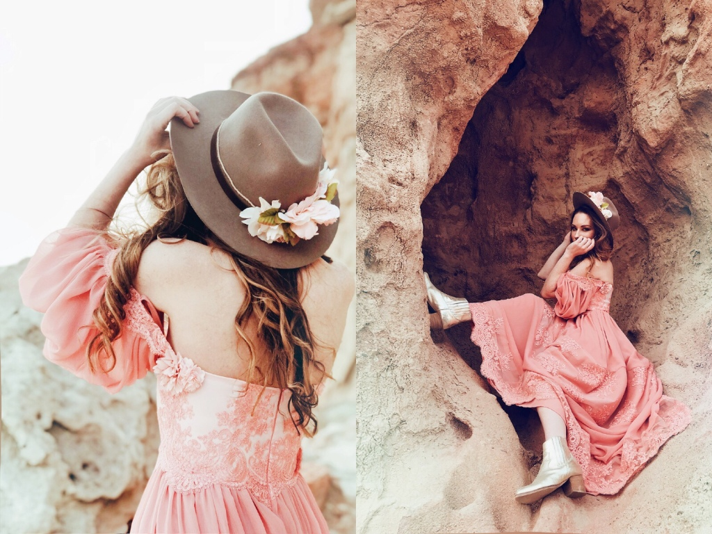 Designer Lauren Elaine wears a rose colored gown and Cowboy hat with floral crown at red rock canyon state park