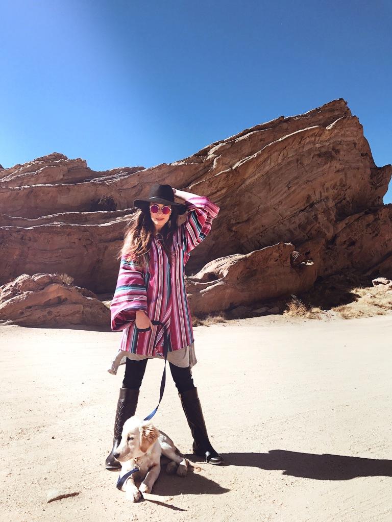 "Fashion Designer Lauren Elaine explores Vasquez Rocks with her Golden Retriever ""Mojave"""