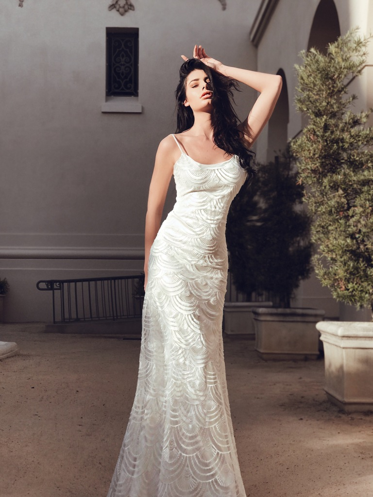 lauren elaine delphine art deco beaded sheath satin wedding dress with watteau train and art deco embroidery
