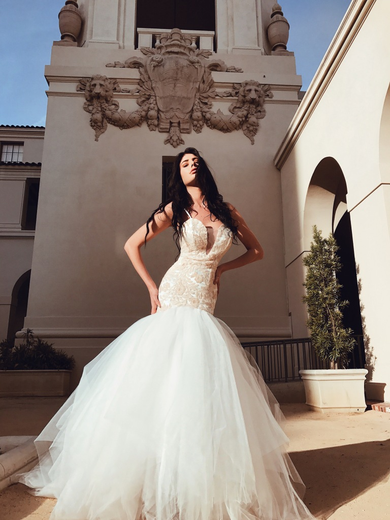 lauren elaine rosabelle blush sequin deep-v illusion mermaid wedding dress with 8ft cathedral train