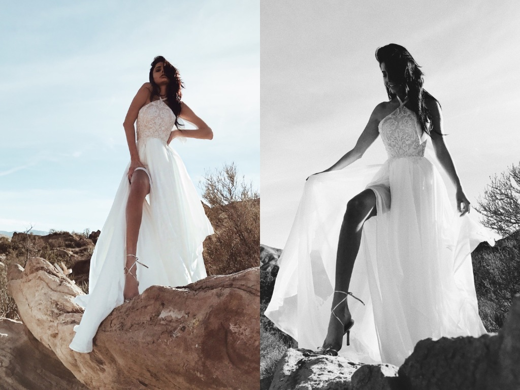 "Lauren Elaine ""Zephyr"" A-line halter wedding dress with high slit and bead detailing with train"
