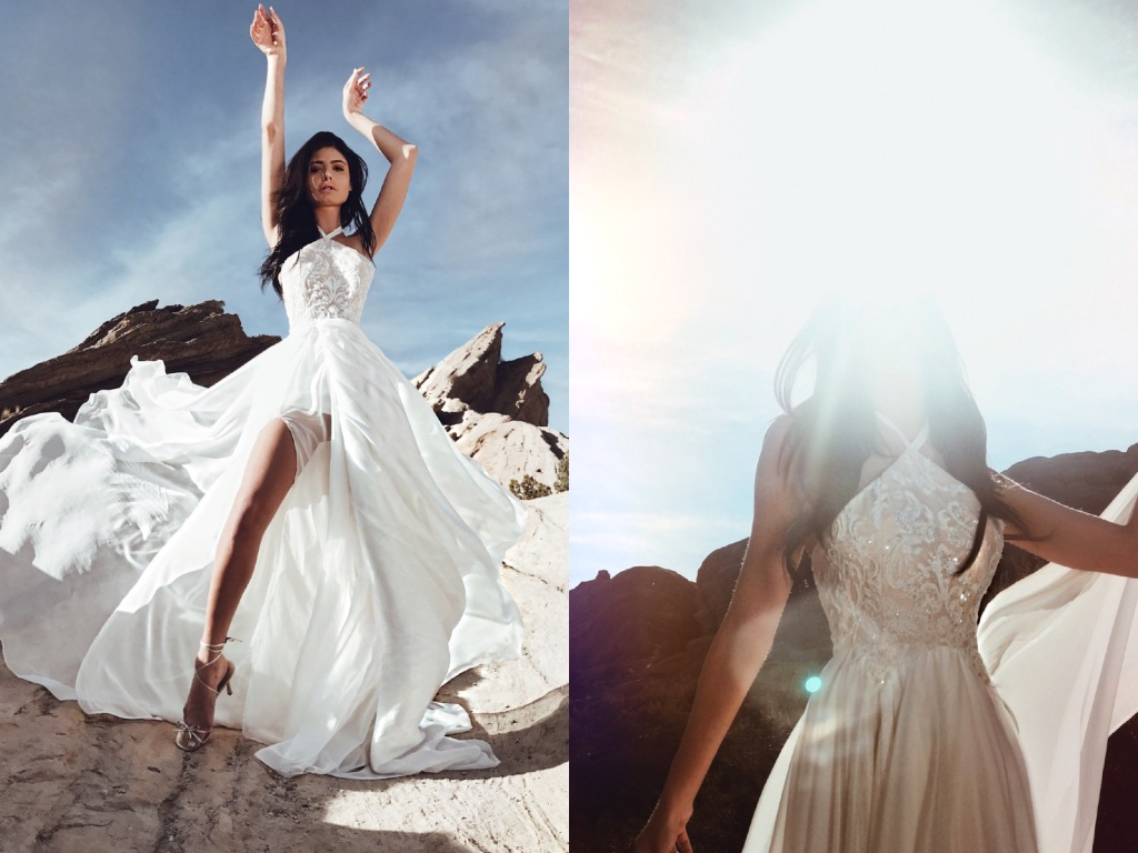 """Lauren Elaine """"Zephyr"""" A-line halter wedding dress with high slit and bead detailing with train"""