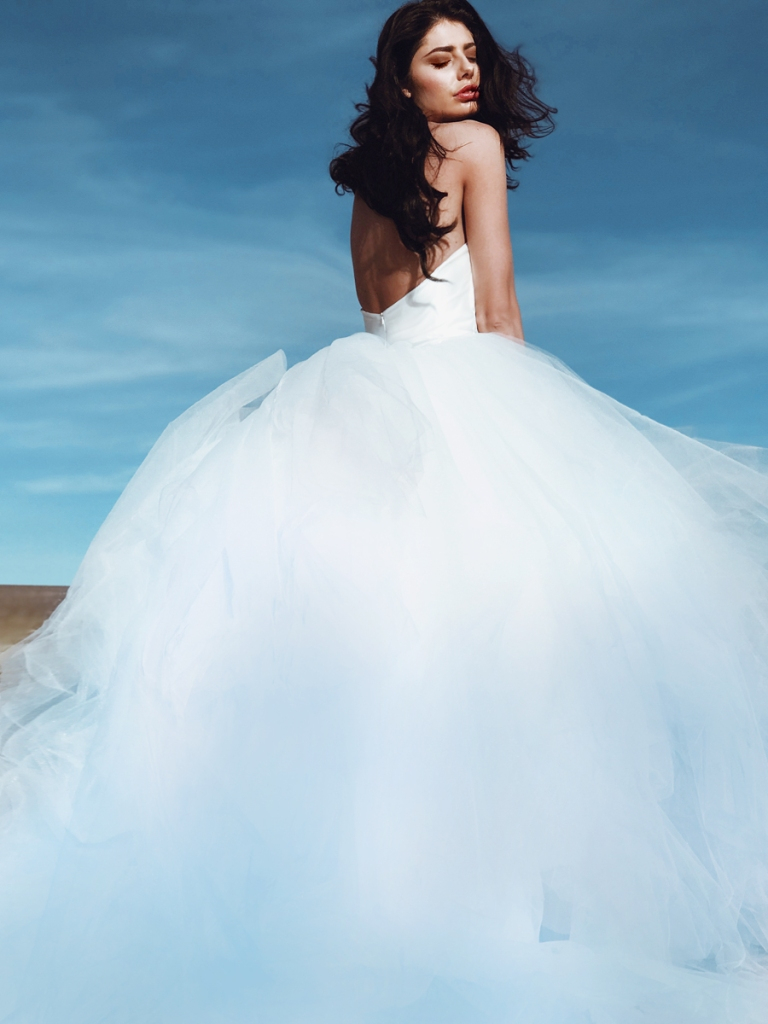 Pastel colored ombre blue wedding dress with detachable cathedral train