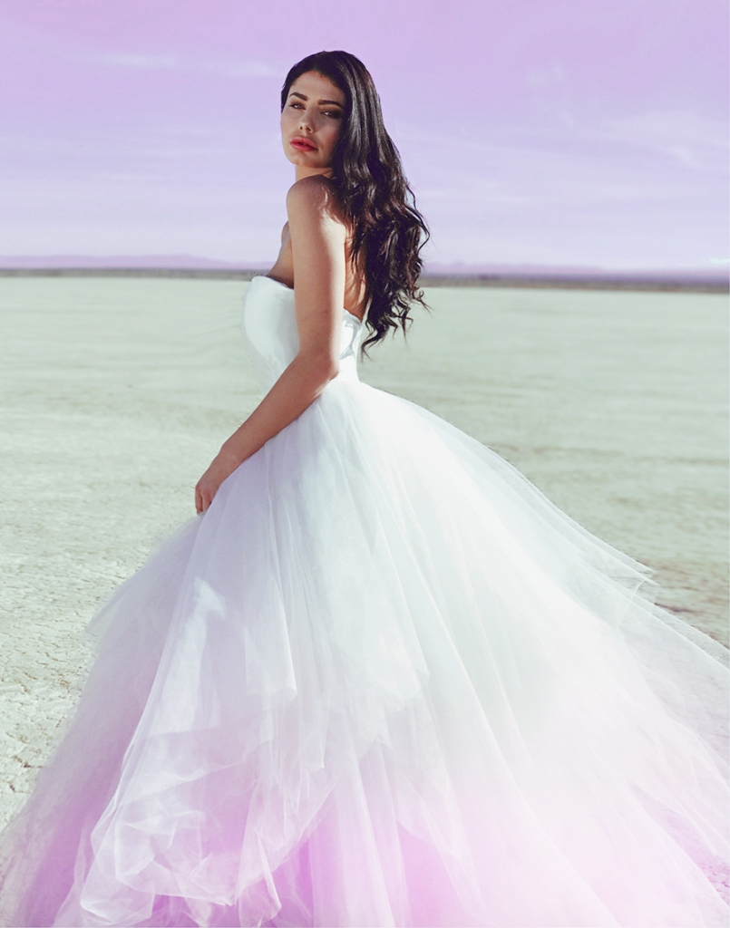 Ombré colored wedding dresses by lauren elaine bridal
