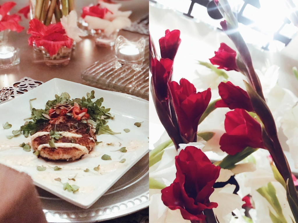 Valentines day menu and tablescape by Designer Lauren Elaine at her home in Los Angeles