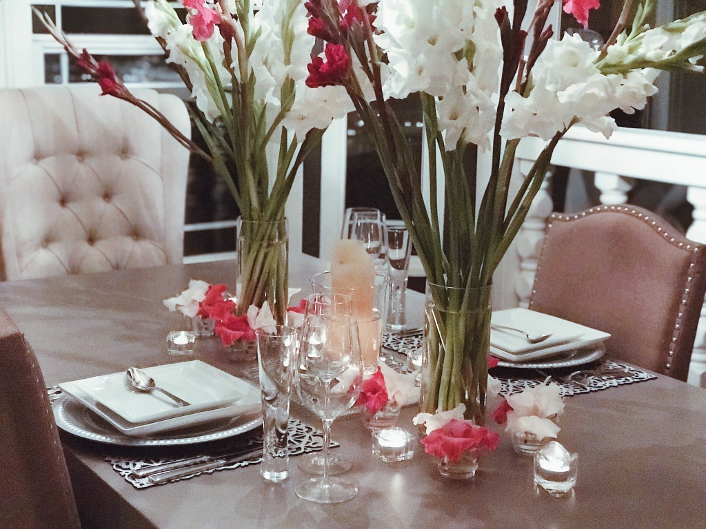 Valentines Day tablescape table decor with Gladiolus flowers by Designer Lauren Elaine