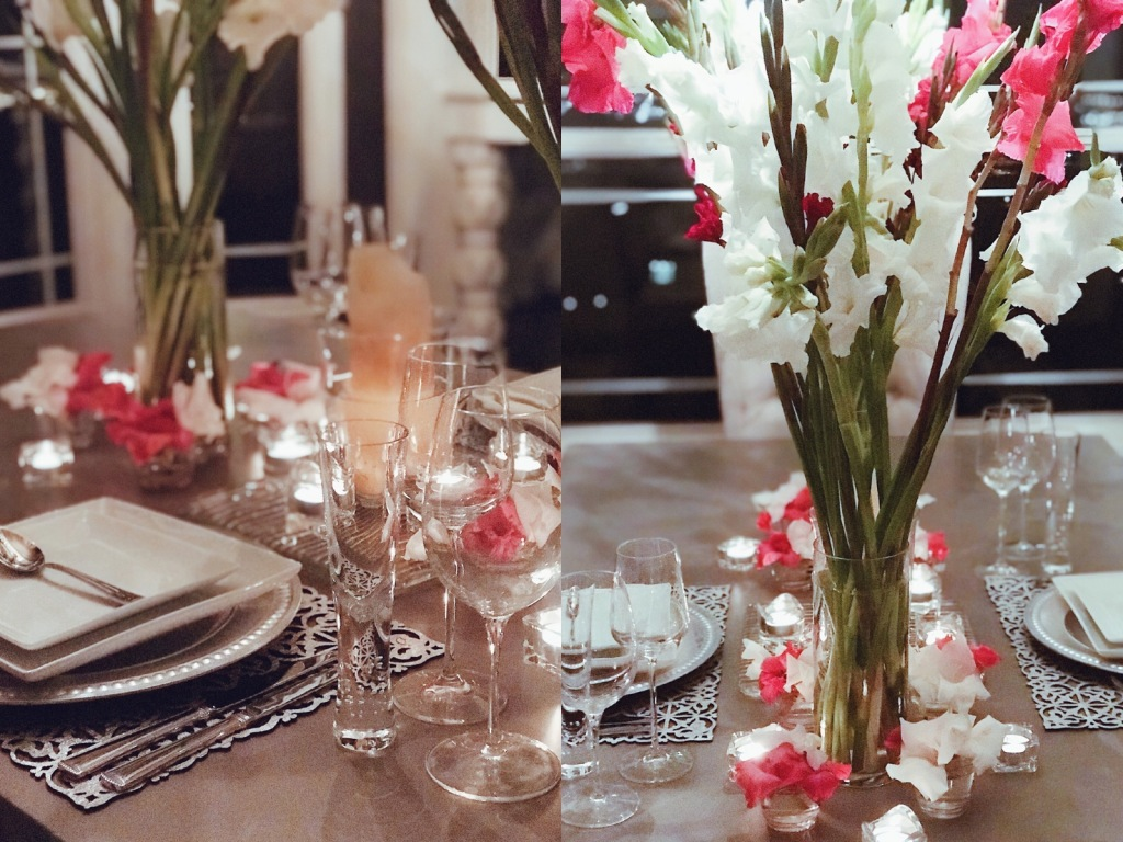 Valentines Day tablescape and table decor with Gladiolus flowers by Fashion Designer Lauren Elaine at her home in Los Angeles