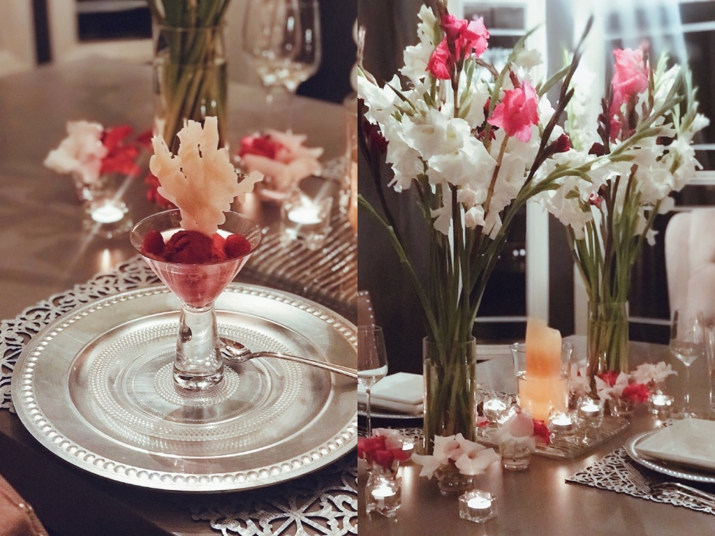 Raspberry sorbet topped with prosecco and candied coral reef accents
