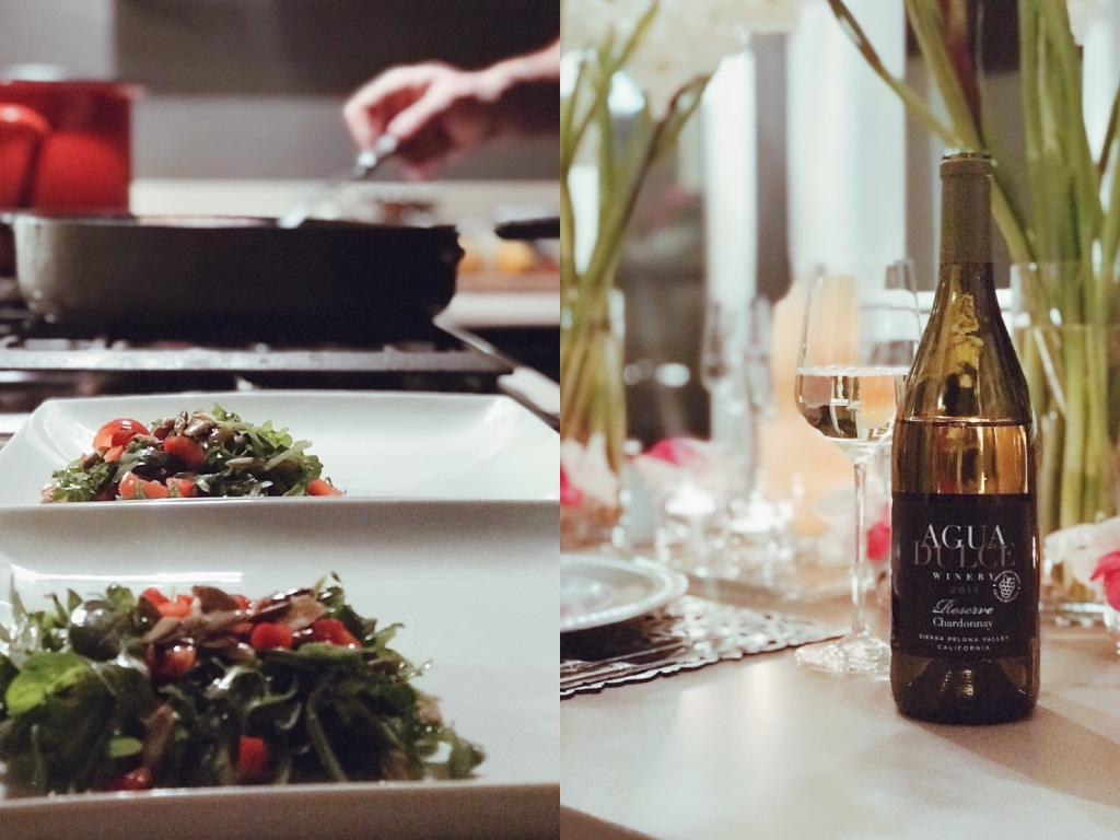 Agua Dulce chardonnay paired with red pepper crab cakes and arugula.