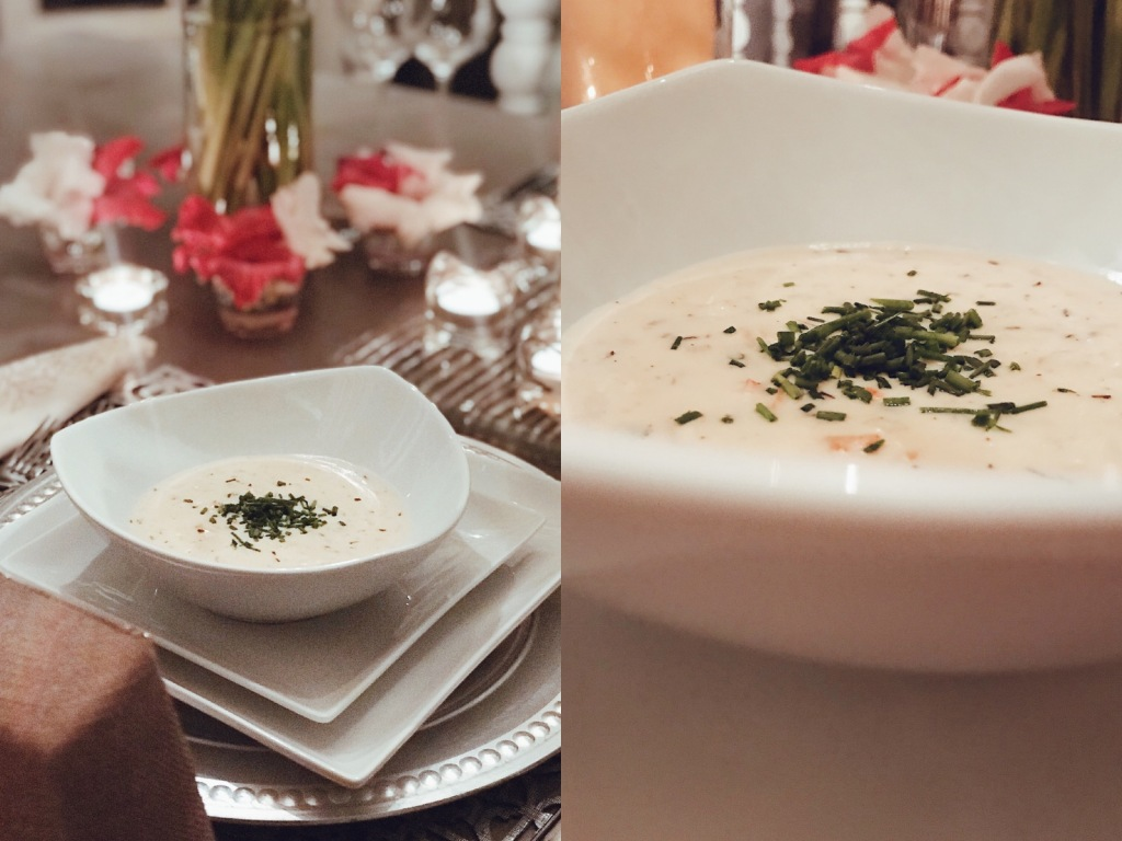 Thyme infused crab bisque for Valentines Day menu