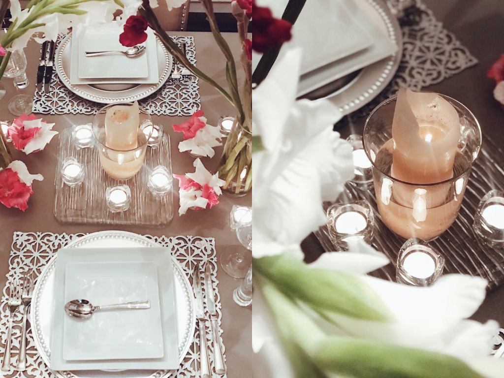 Valentines Day tablescapes and table decor by Fashion Designer Lauren Elaine at her home in Los Angeles
