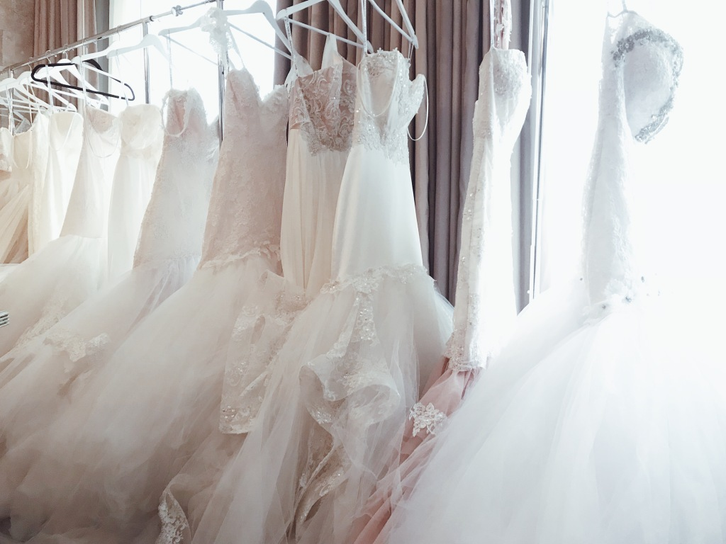 Sparkling wedding gowns on display at the Lauren Elaine Houston Trunk Show event