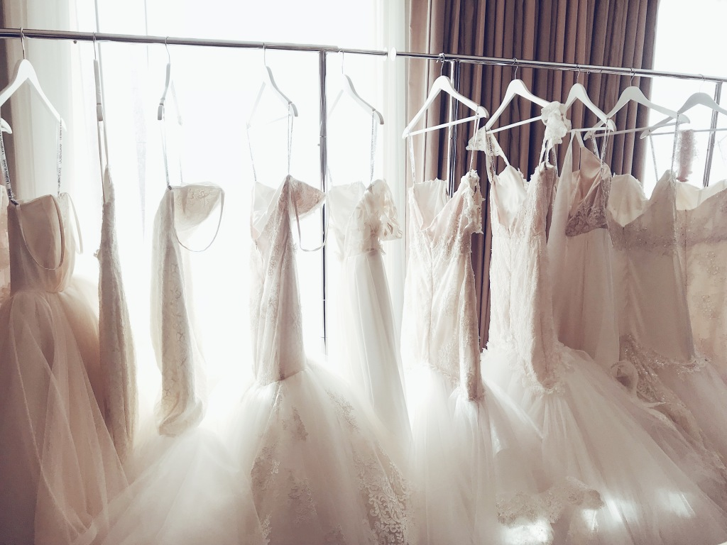Colored wedding gowns on display at the Lauren Elaine Houston trunk Show event