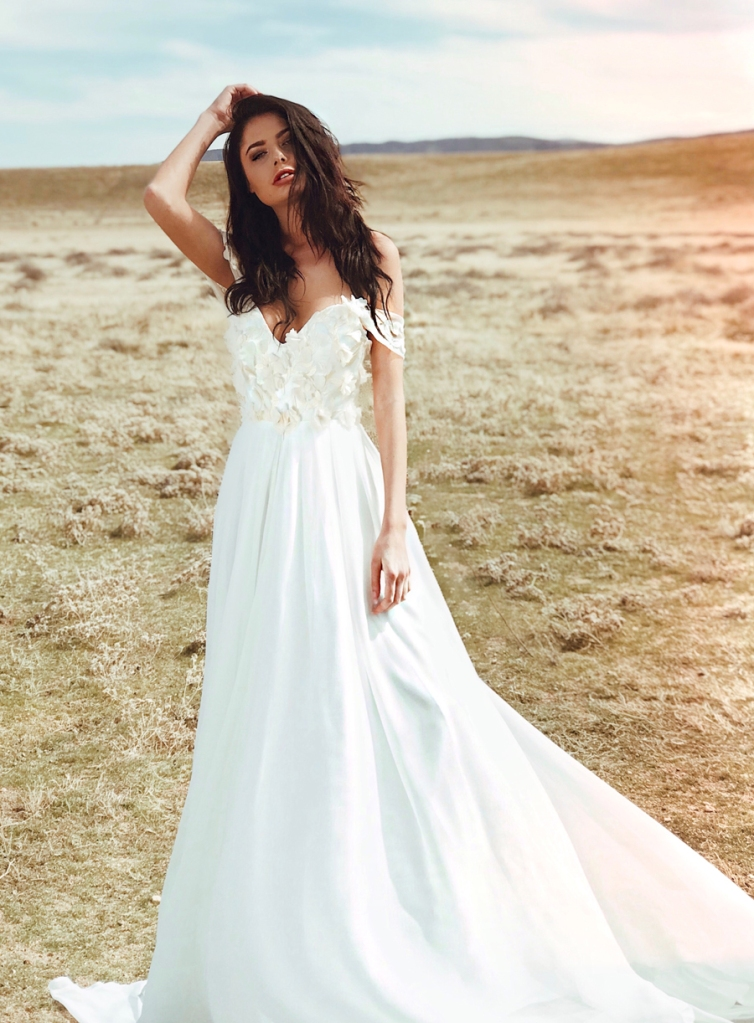 Romantic off-the-shoulder sweetheart a-line wedding dress with lace floral appliques by lauren elaine bridal