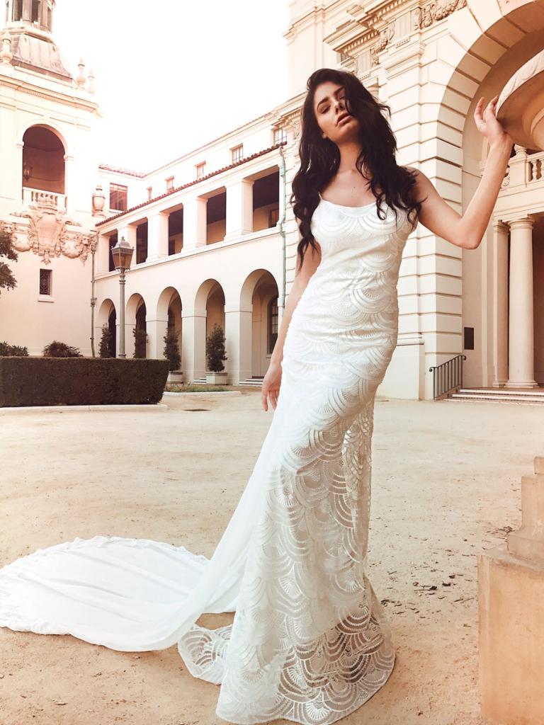 Art deco beaded sheath trumpet wedding dress by Lauren Elaine Bridal