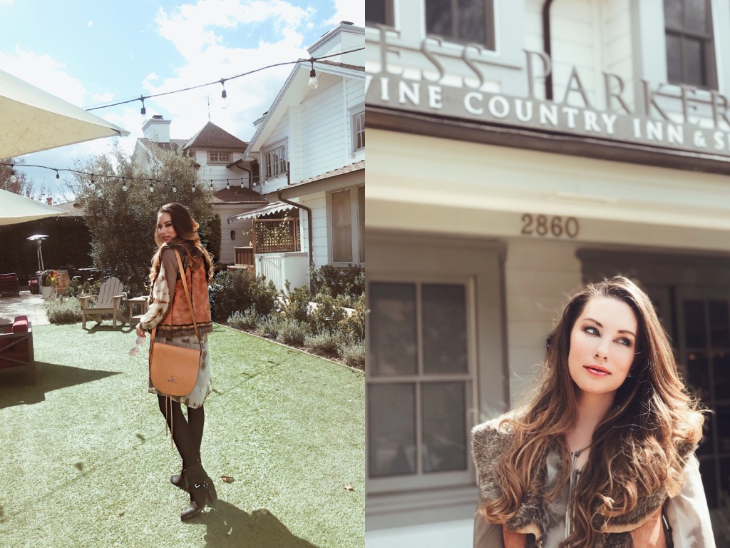Fashion Designer Lauren Elaine explores the grounds of the Fess Parker Wine Country Inn in Los Angeles, CA