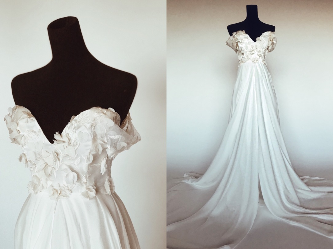 """Chrystalin"" A-line wedding dress with 3D floral detailing and draped chiffon skirt with cathedral train"