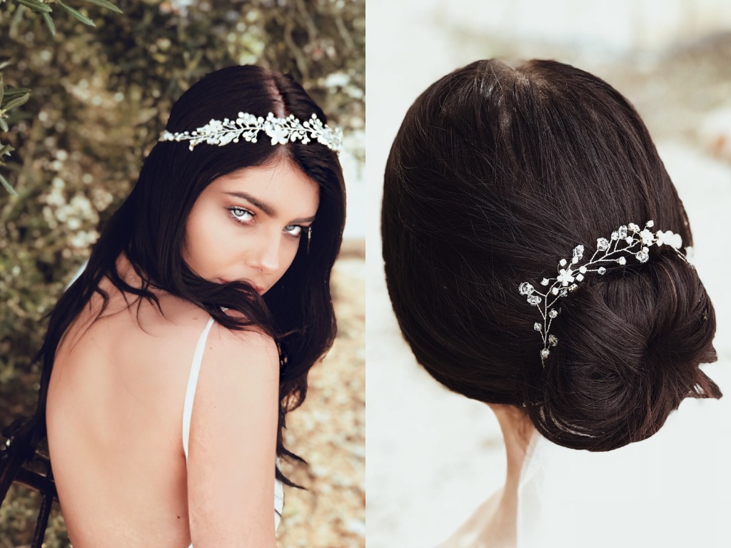 Lauren Elaine Bridal hair accessories with swarovski crystals and freshwater pearls