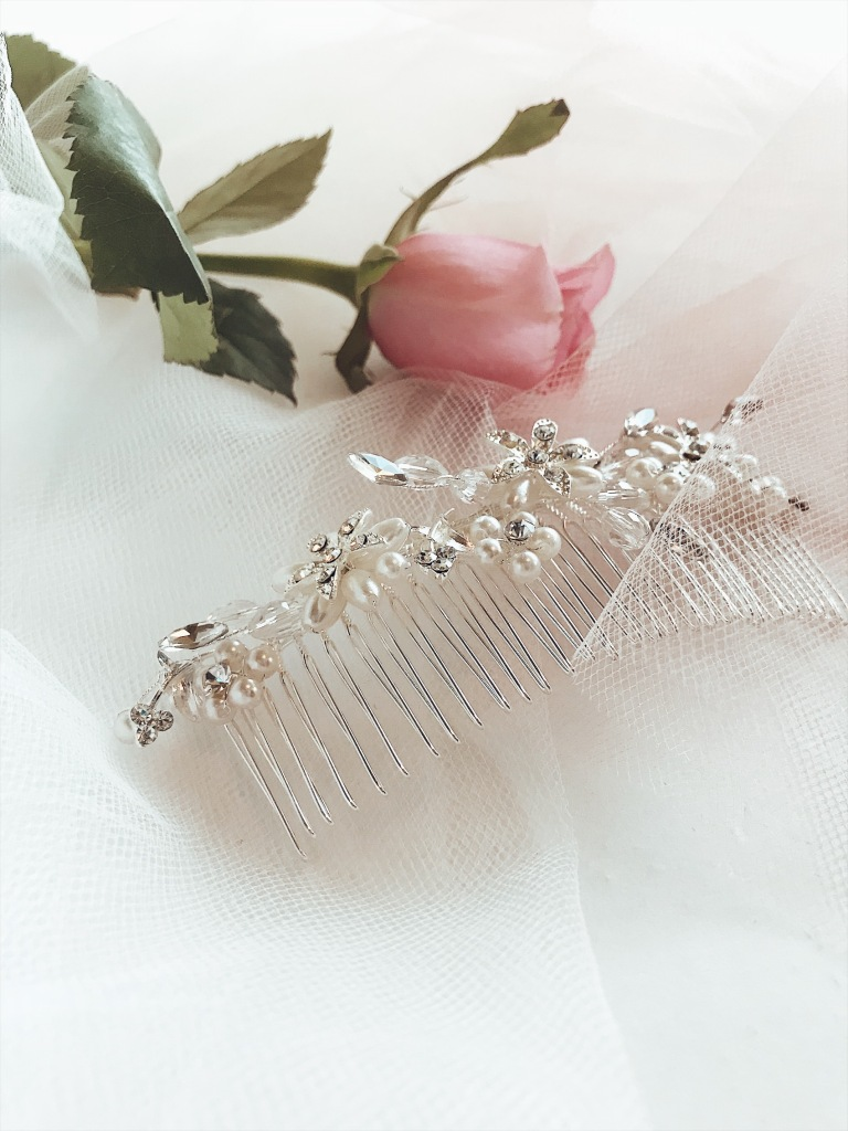 "Lauren Elaine ""Honeysuckle"" crystal and pearl hair comb"