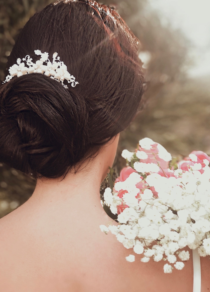 "Lauren Elaine ""Lilac"" bridal hair comb with freshwater pearls"