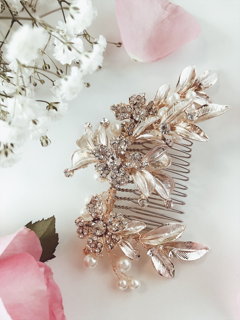 "Lauren Elaine ""Saffron"" Bridal Comb with Gold painted flowers and pave crystals"