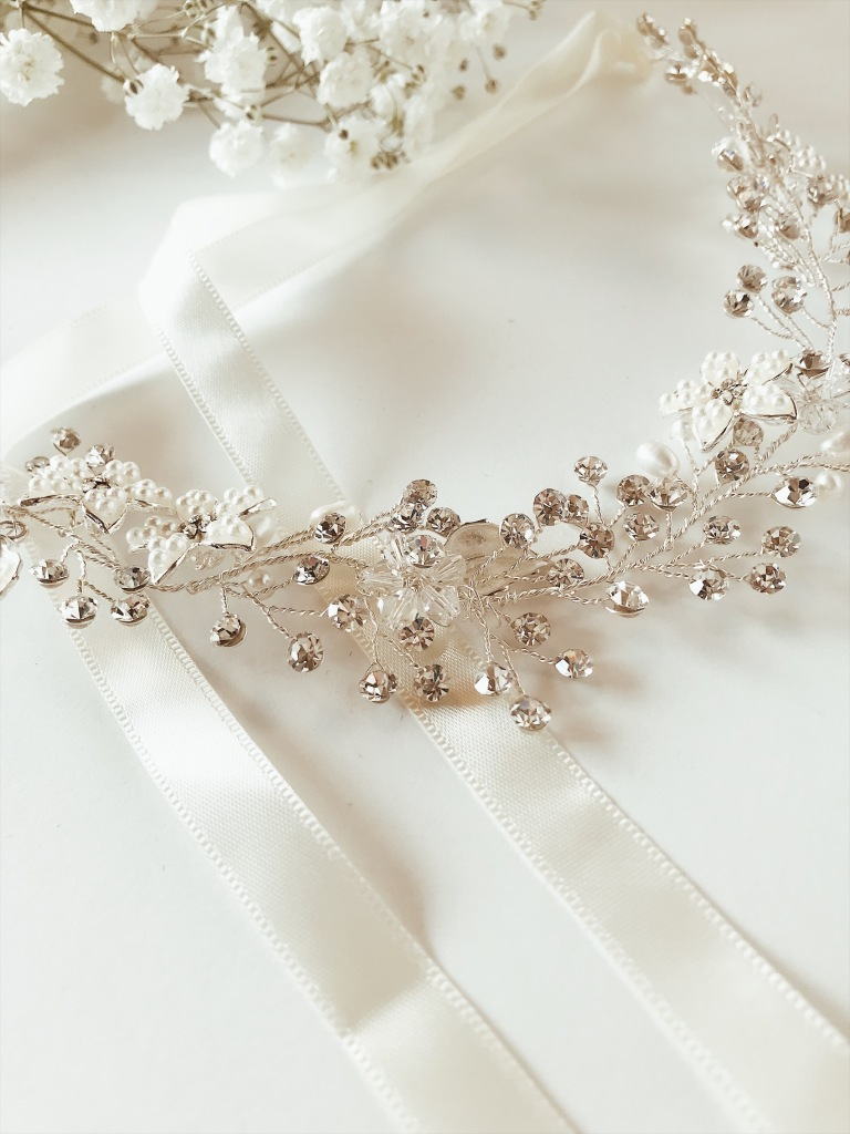 "Lauren Elaine ""Verbena"" wedding flower crown hair vine tiara"