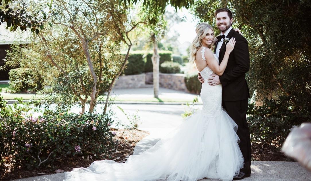 "Bride Alex's wedding at the Thurdsay Club in San Diego and her custom Lauren Elaine ""Capella"" Gown"