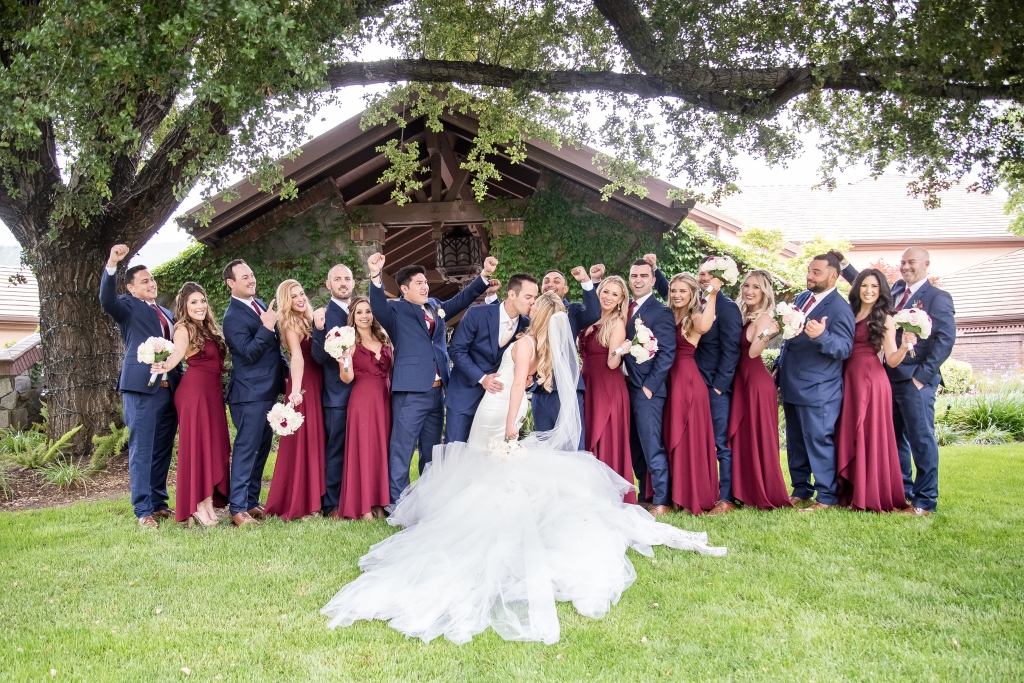 "Bride Amanda's custom Lauren Elaine ""Epiphany"" gown and cathedral train"