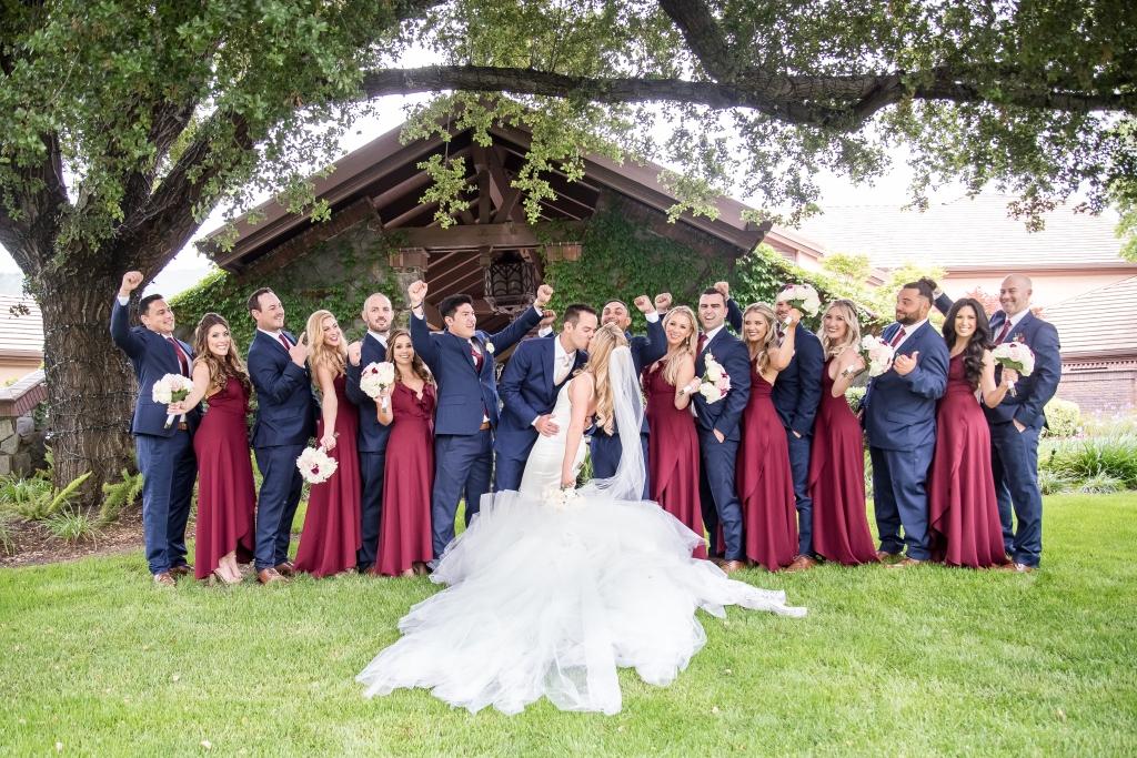 "Bride Amanda's custom Lauren Elaine ""Epiphany"" gown and cathedral train"
