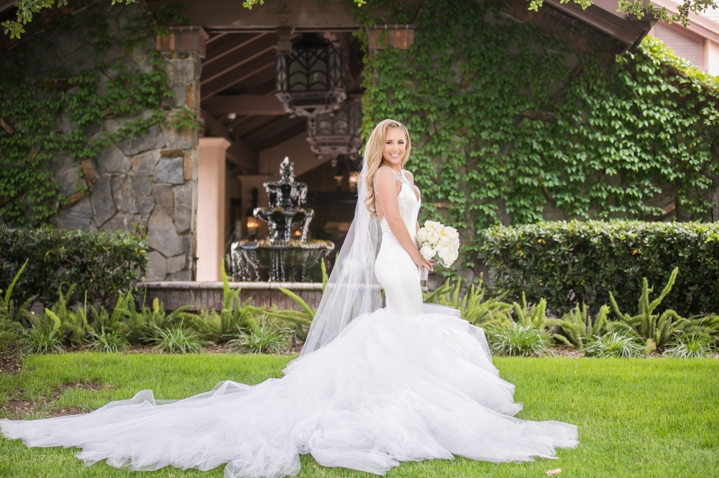 "Bride Amanda's custom Lauren Elaine ""Epiphany"" gown with detachable cathedral train"