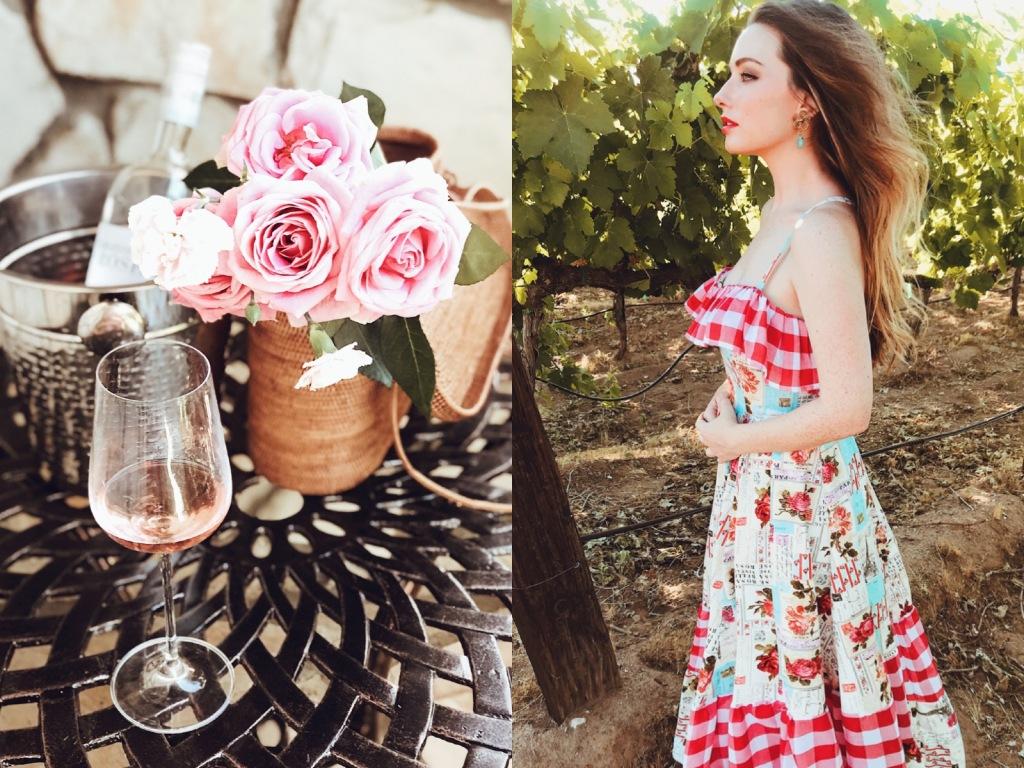 Ruffle americana gingham midi cotton sun dress by Designer Lauren Elaine