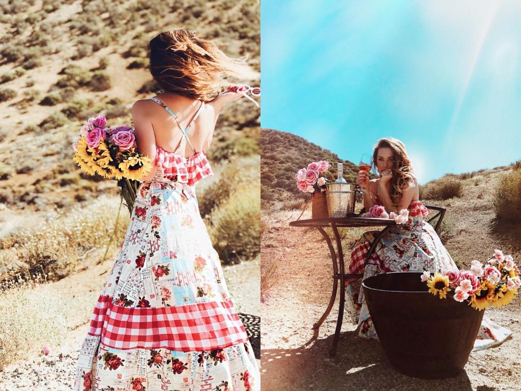Criss-cross back cotton ruffle dress by Lauren Elaine Los Angeles
