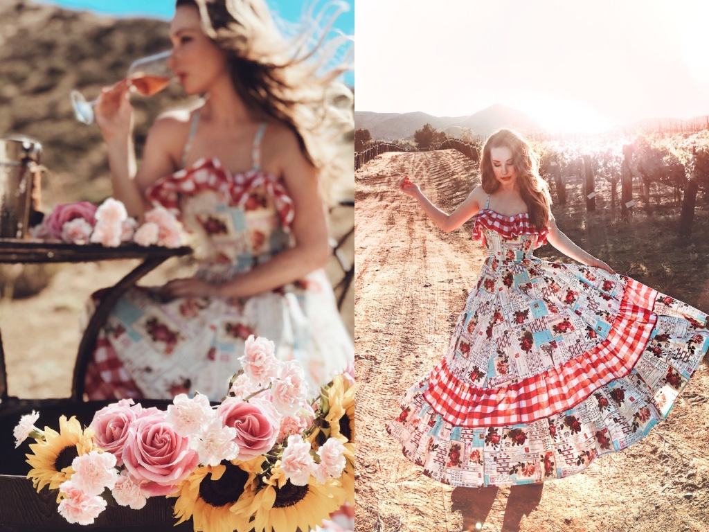 Ruffle gingham cotton floral print midi dress by Designer Lauren Elaine and the best rose wines for summer!