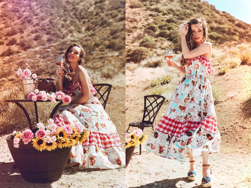 """Shop the """"American Rosé' cotton print midi gingham sundress by Lauren Elaine"""