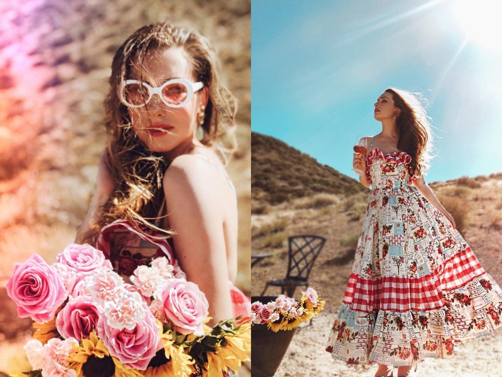 Gingham rose print cotton sundress by Designer Lauren Elaine