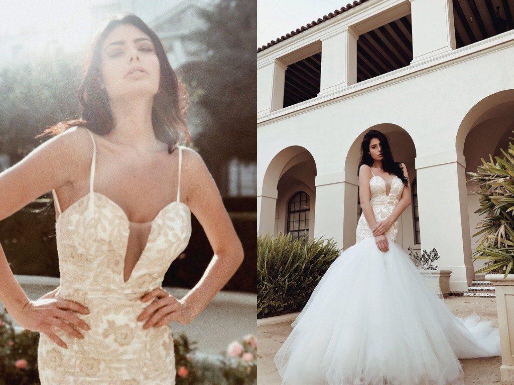 Deep V illusion neckline wedding dresses and gowns by Lauren Elaine