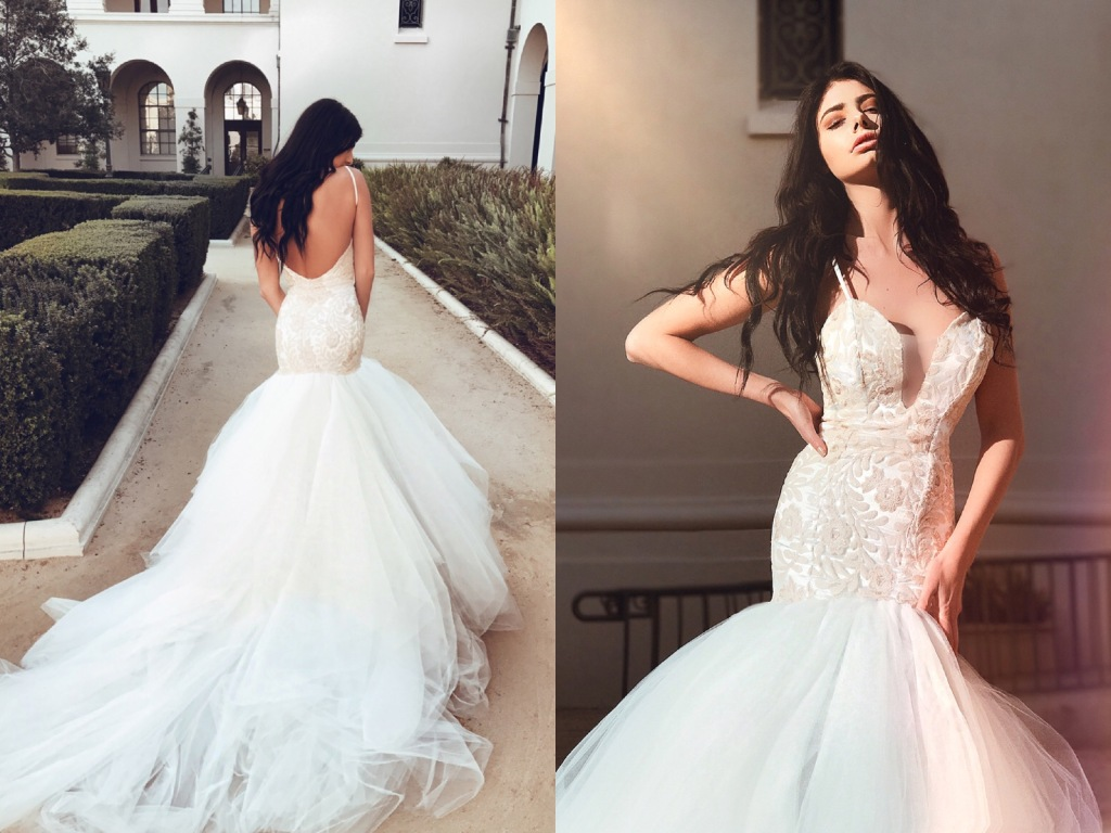Lauren Elaine Bridal Rosabelle blush sequin mermaid deep v illusion wedding dress