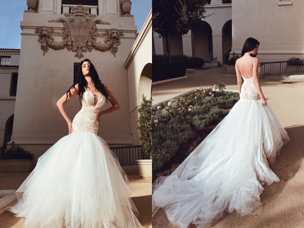 Lauren Elaine Bridal Rosabelle blush sequin mermaid deep v illusion wedding gown