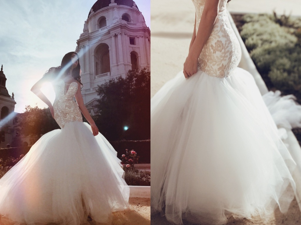 Blush sequin mermaid wedding dress with 8ft cathedral train