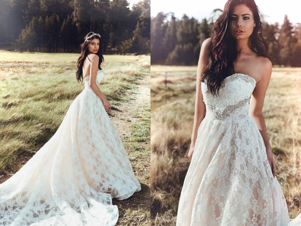 Lauren Elaine Maiden gown A-line ball gown lace wedding dress with crystal detailing with Cathedral Train