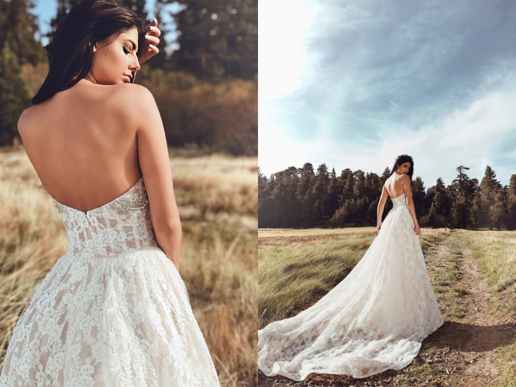Lauren Elaine Maiden gown A-line ball gown lace wedding dress with crystal detailing