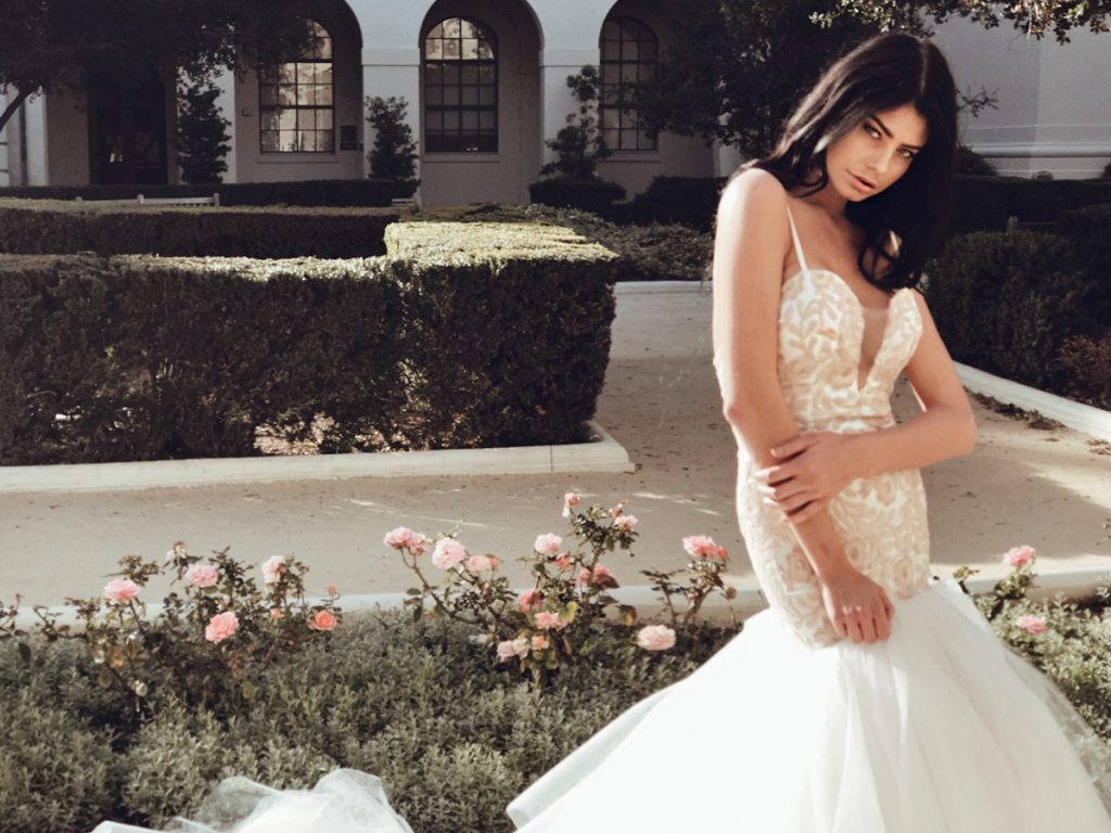 Lauren Elaine Bridal Rosabelle blush sequin mermaid deep v illusion wedding gowns