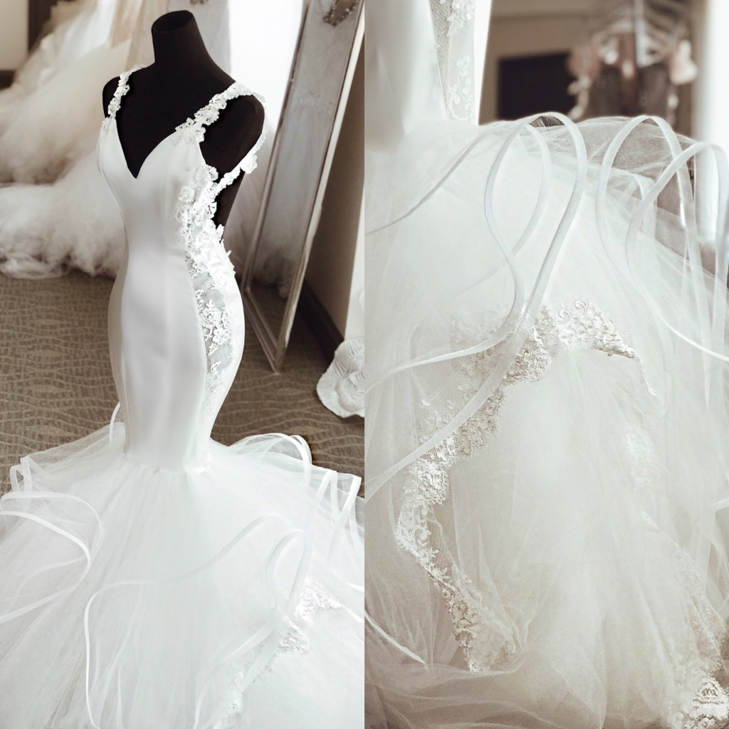 """Lauren Elaine """"Euphoria"""" satin and crystal mermaid wedding dress with illusion side panels and horsehair tulle skirt"""