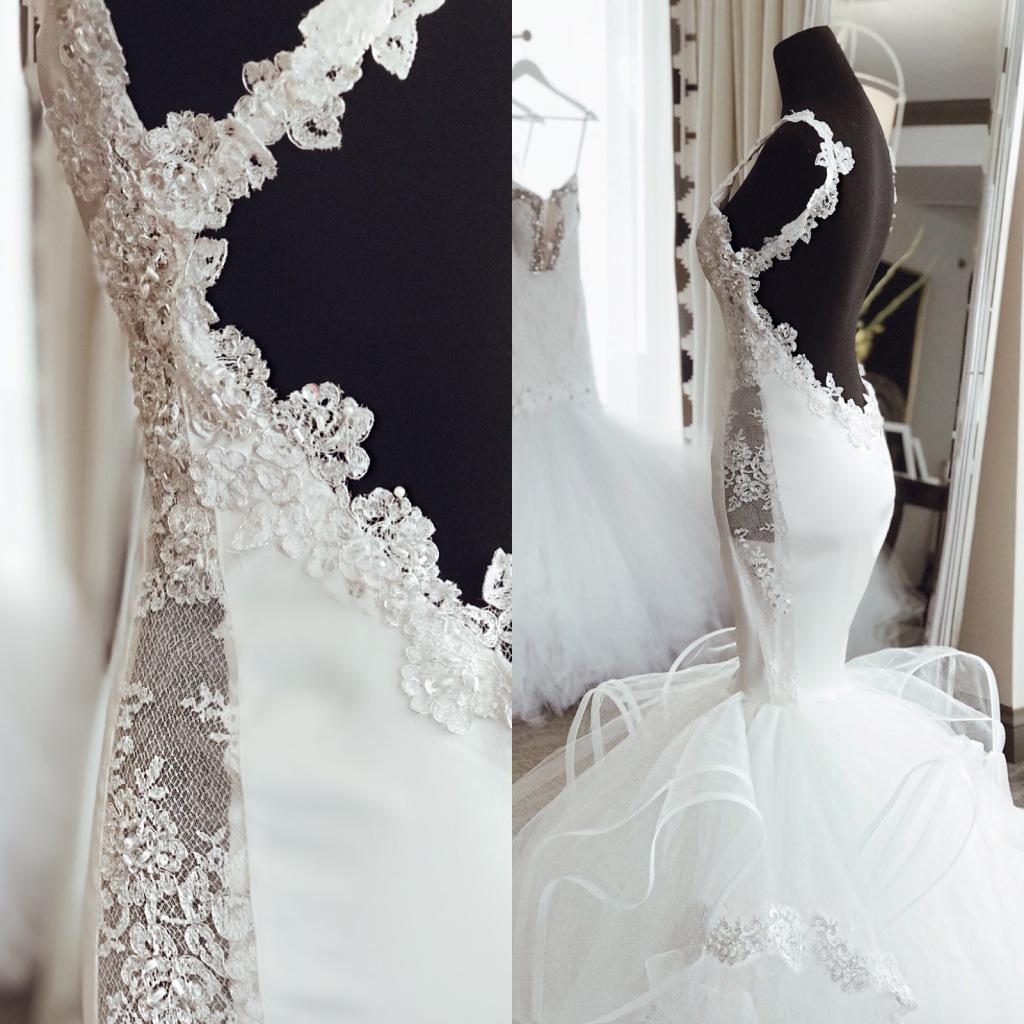 """Backless Lauren Elaine satin and crystal """"Euphoria"""" mermaid wedding gown with sexy form fit and illusion side panel details"""