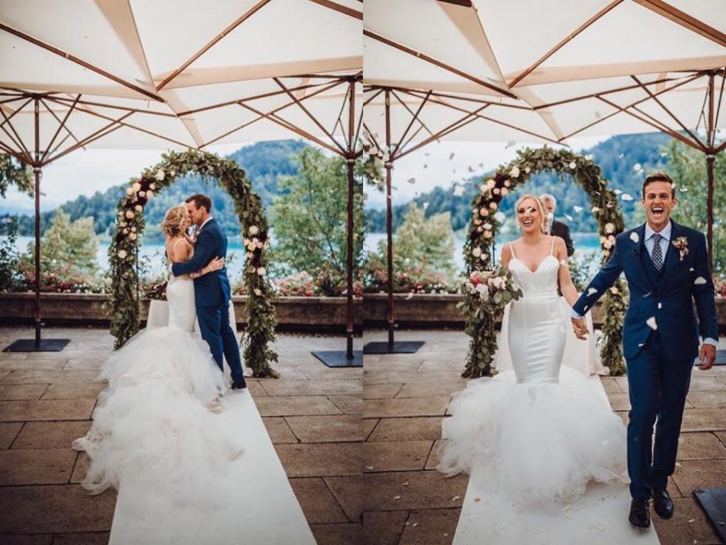 "Bride Natanie celebrates her Slovenian wedding in her custom Lauren Elaine ""Epiphany"" mermaid wedding dress"