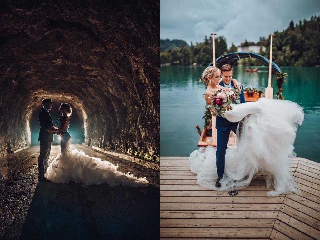 "Bride Natanie wears a custom Lauren Elaine ""Epiphany"" wedding dress at Lake Bled, Slovenia"